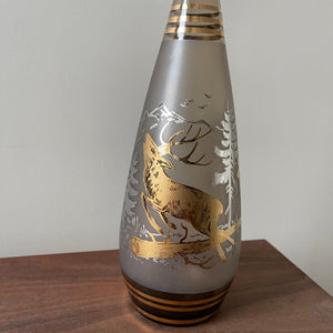 Vintage Bohemia Decanter With Gold Leaf Stag and Forest Design