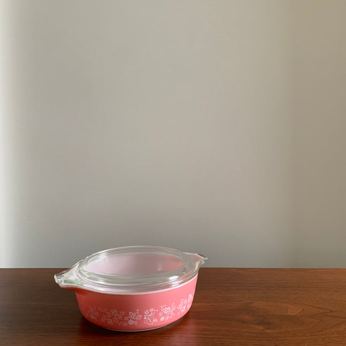Pink Pyrex Gooseberry Casserole Dish with Lid #471