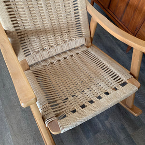 Hans Wegner Style Rope Rocking Chair Made in Yugoslavia