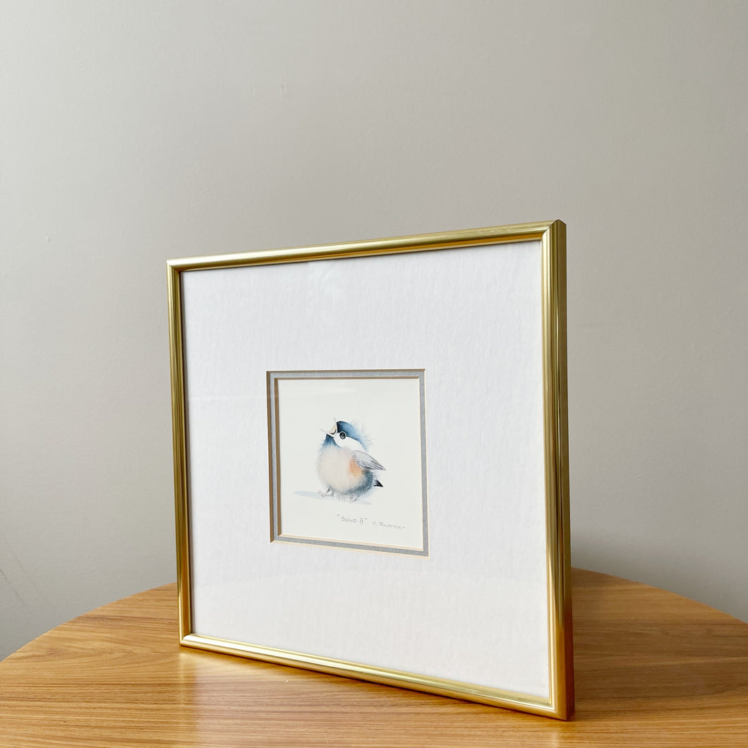Solo II by Val Pfeiffer Baby Bird Watercolour Matted and Framed
