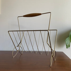 Vintage Midcentury Modern Brass Magazine Rack With A Wooden Handle