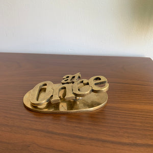 "Vintage Brass ""At Once"" Paper Clip"