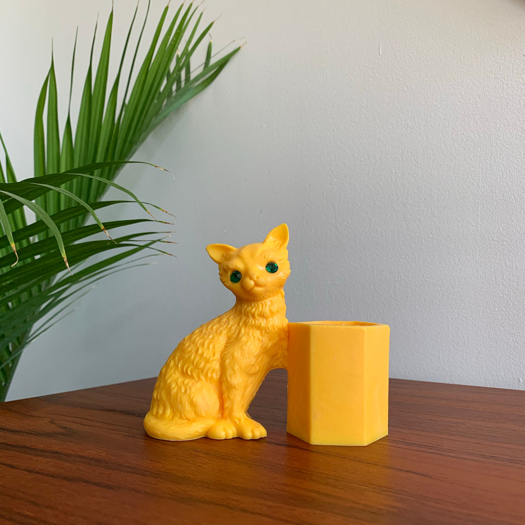 Vintage Yellow Cat Pencil Holder