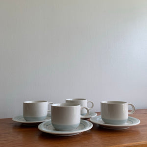 Set of 4 Vintage Japanese Stoneware Mugs and Saucers
