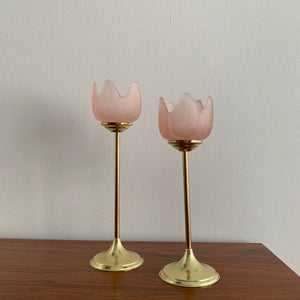 Pair of Vintage Frosted Glass Tulip Candle Holder