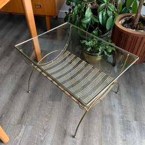 Vintage Brass Side Table with Glass Top