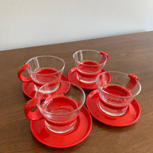 Load image into Gallery viewer, Set of 4 Vintage Bodum Espresso Cups and Saucers