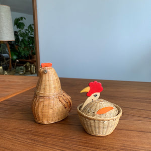 Pair of Vintage Woven Wicker Rooster Baskets