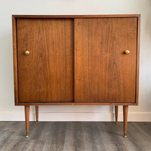 Load image into Gallery viewer, Vintage Walnut Cabinet with Sliding Doors