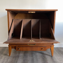 Load image into Gallery viewer, Walnut Drop Down Record Cabinet