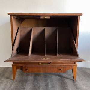 Walnut Drop Down Record Cabinet