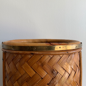 Vintage Woven Wicker Umbrella Stand / Vase