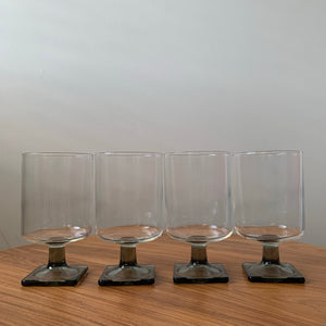 Set of 4 Vintage Rosenthal Linear Smoke Glass Square Base Glasses