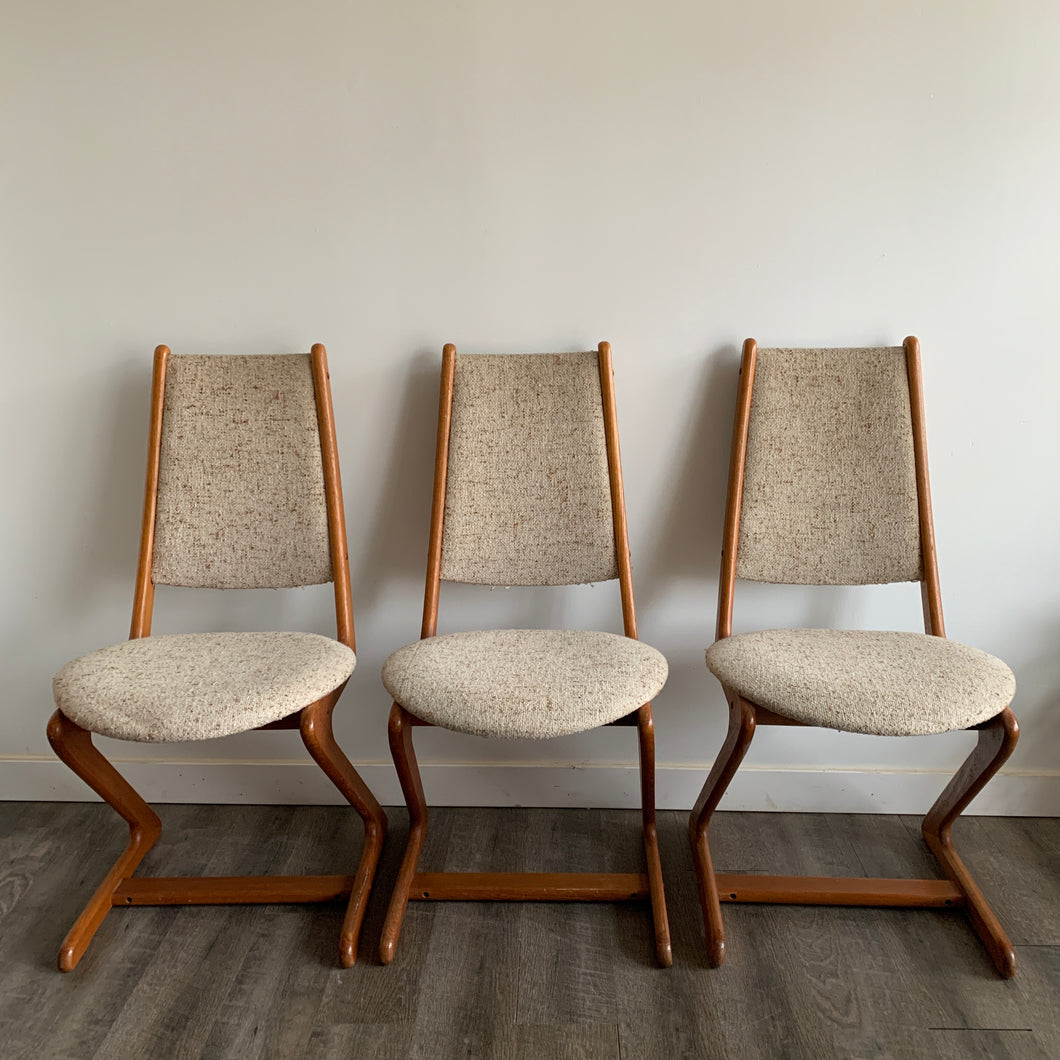 Set of 3 Teak Zig Zag Chairs