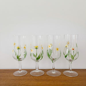 Set of 4 Vintage Hand Painted Wine Glasses