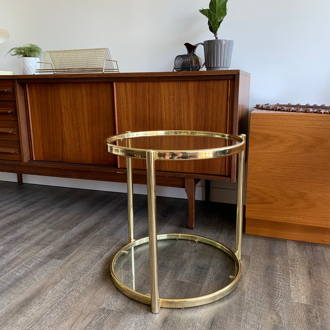 Vintage Round Brass Side Table