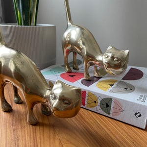 Pair of Vintage MCM Brass Cats