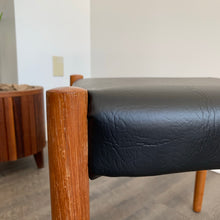 Load image into Gallery viewer, Danish Teak Ottoman With Vinyl Upholstery