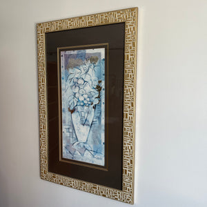 Vintage Framed Fruit and Vase Print with Gold Foil