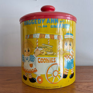Vintage Raggedy and Andy Cookies Tin Container