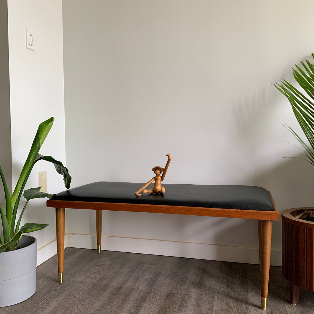 Vintage Two-Tone Bench with Black Vinyl Upholstery