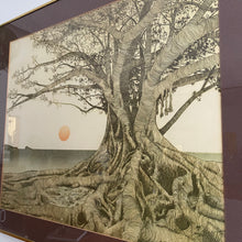 "Load image into Gallery viewer, 1970s ""Tropical Fig Tree"" Brass Framed Wall Art by Michael E. Arth"