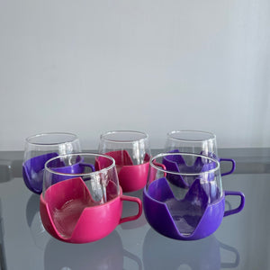 Set of 5 Glasses With Purple and Pink Plastic Holders