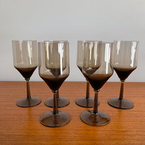 Set of 6 Smoked Wine Glasses
