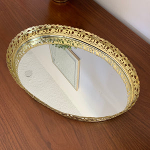 Vintage Brass Mirrored Vanity Tray
