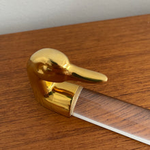 Load image into Gallery viewer, Brass and Lucite Duck Paperweight