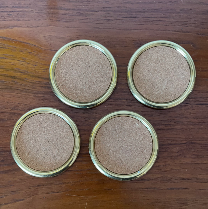 Vintage Set of 4 Brass and Cork Coasters
