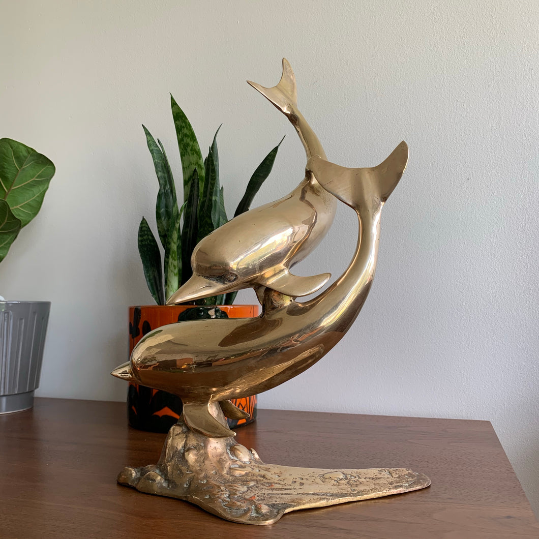 Vintage Large Brass Swimming Dolphins Sculpture