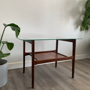 Teak Side Table with Glass Top
