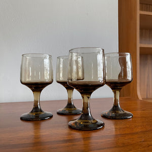 Set of 4 Smoked Wine Glasses