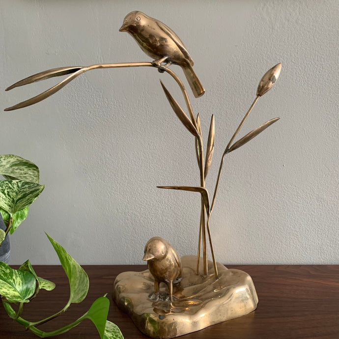 Vintage Brass Birds Sculpture