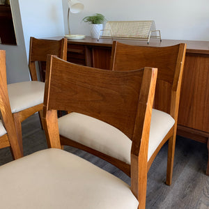 Set of 4 Vintage Walnut Dining Chairs