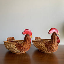 Load image into Gallery viewer, Pair of Woven Wicker Rooster Baskets