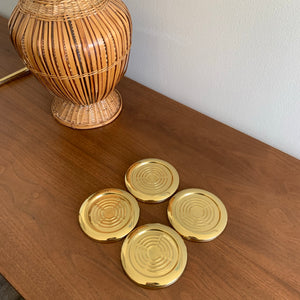 Set of 4 Vintage Brass Coasters