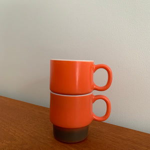 Vintage Mid Century Modern Two Toned Fire King Mugs