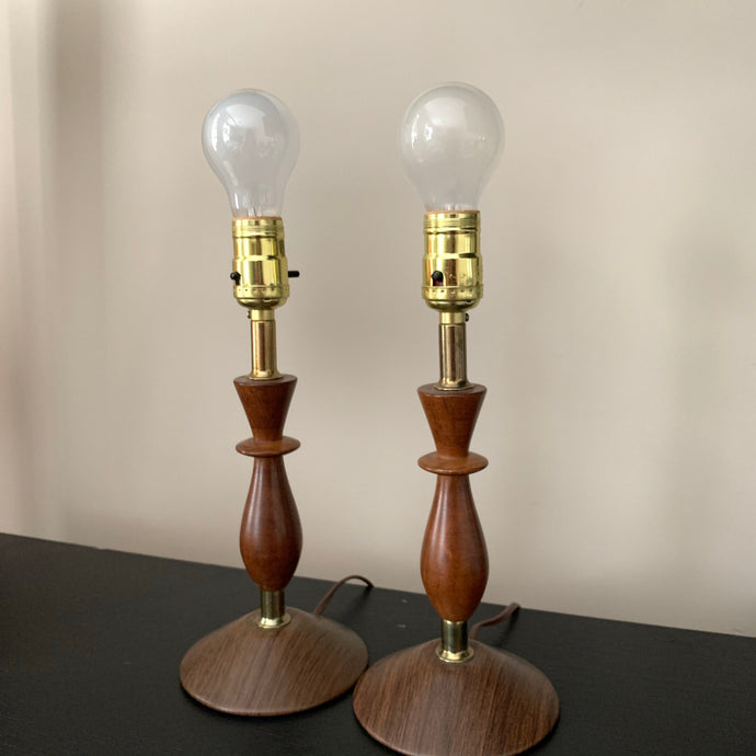 Pair of Mid Century Modern Walnut Table Lamps