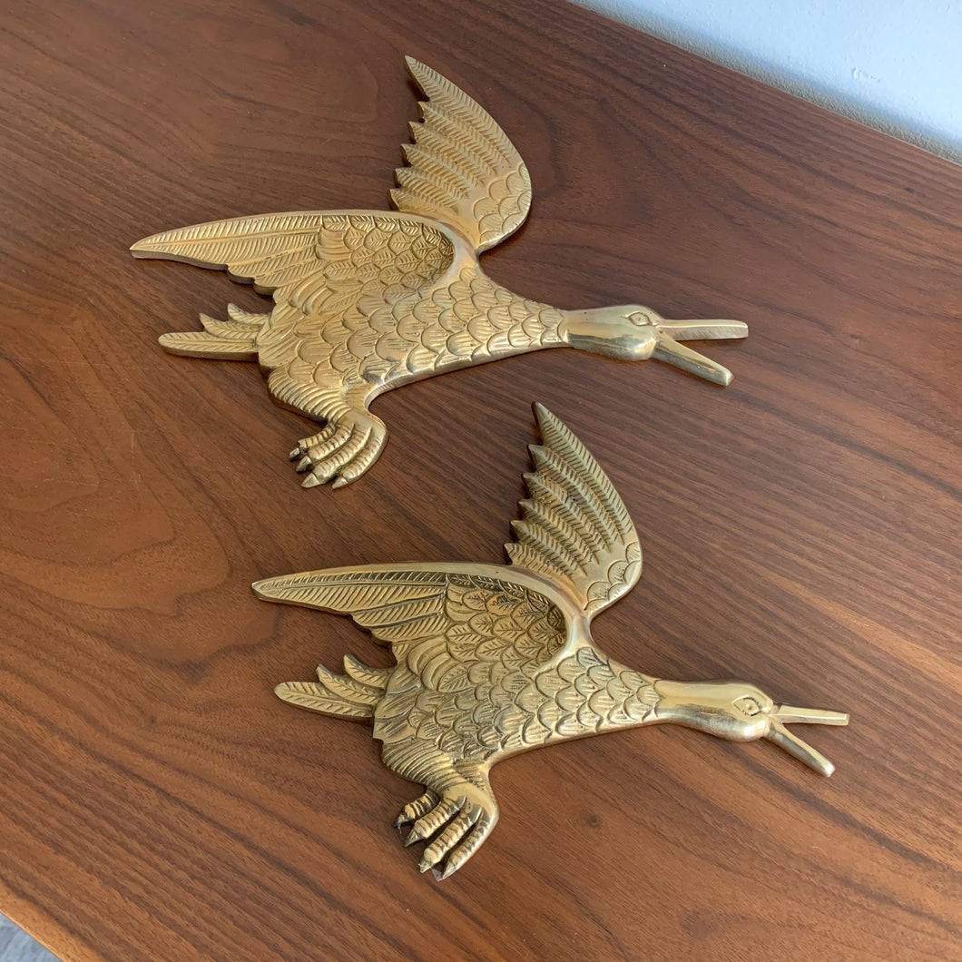 Vintage Flying Brass Birds Wall Decor