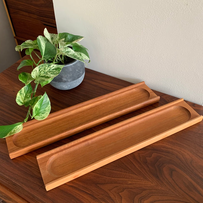 Pair of Vintage Teak Baguette Trays