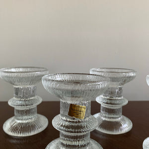 Set of 4 Vintage Textured Glass Candle Holders by Luminarc