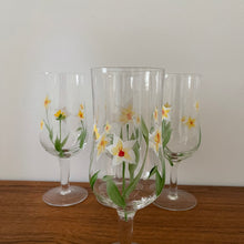 Load image into Gallery viewer, Set of 4 Vintage Hand Painted Wine Glasses