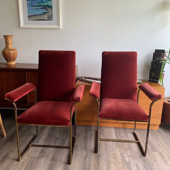 Vintage Brass Armchairs with Velvet Upholstery