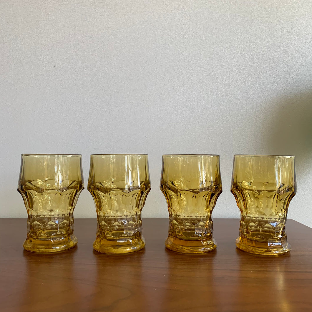 Set of 4 Vintage Amber Drinking Glasses