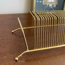 Load image into Gallery viewer, Small Brass Tabletop Vinyl Rack