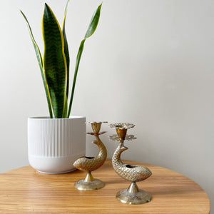 Pair of Vintage Brass Fish Candle Holders