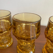 Load image into Gallery viewer, Set of 4 Vintage Amber Drinking Glasses