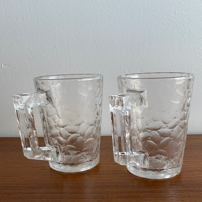 Set of 2 Textured Glass Beer Mugs